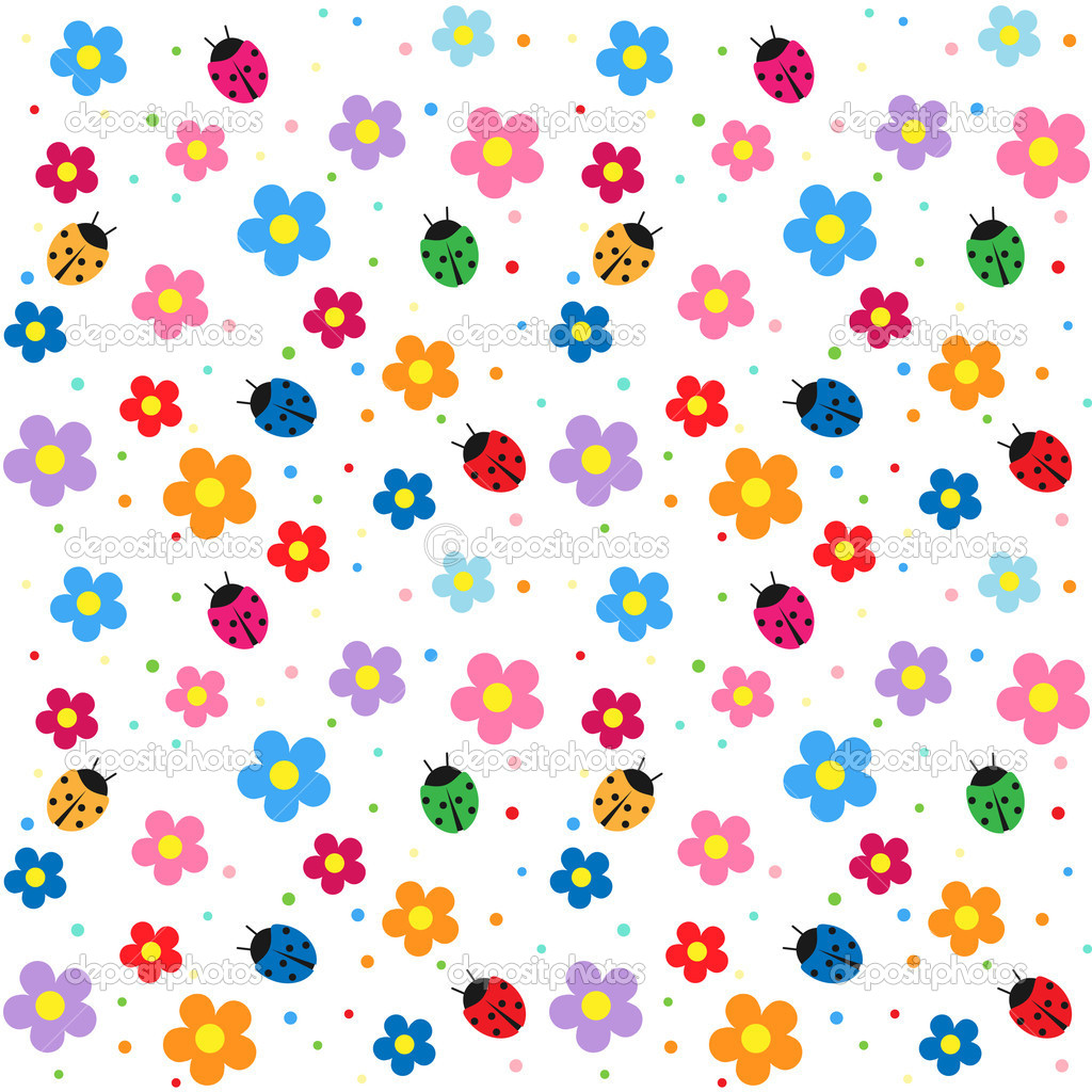 Flowers and ladybugs seamless background — Stock Vector #6060801