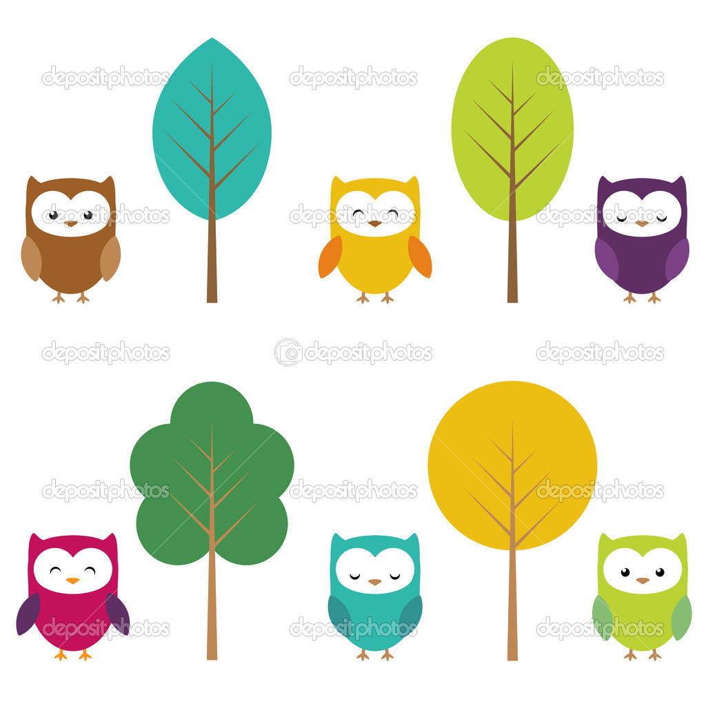 Owls in six color combinations and four color trees. — Stock Vector #6060824