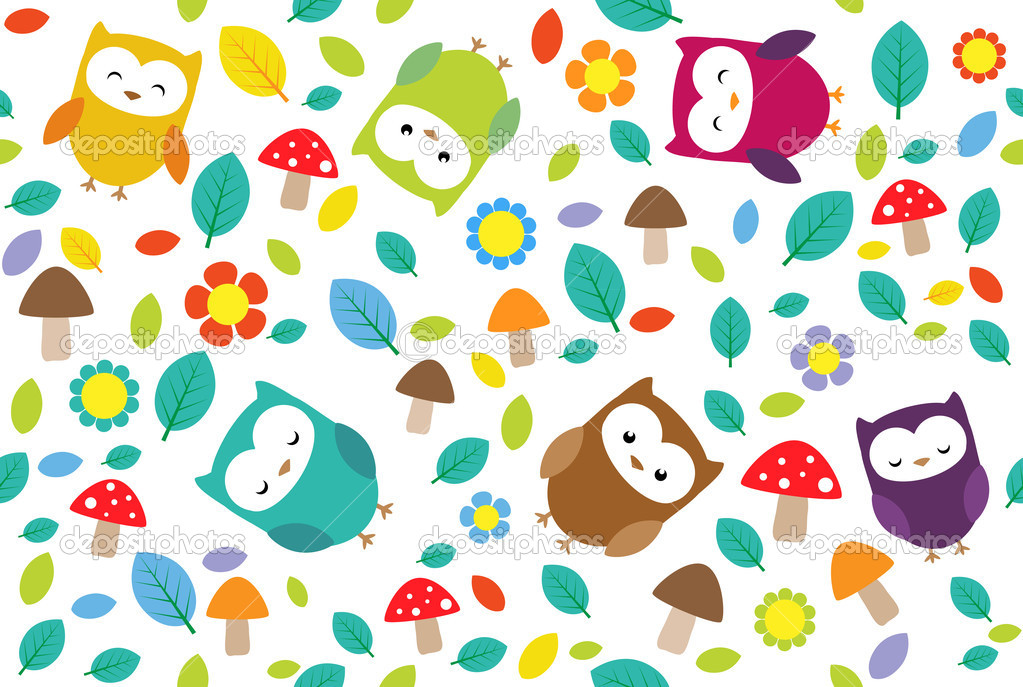 Bright background with owls, leafs, mushrooms and flowers. Seamless pattern. — Stock Vector #6060826
