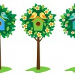 Birdhouses on trees — Stock Vector #6177368