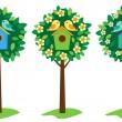 Birdhouses on trees — Stock Vector