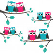 Owls_couples — Vettoriale Stock