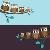 Family of owls — Stockvektor