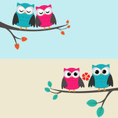 Owls_couples — Stock Vector