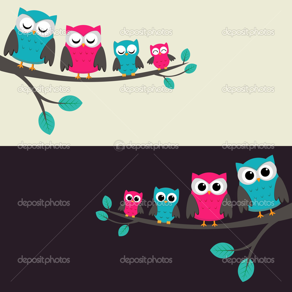 Family of owls sitting on a branch. Two variations. — Stock Vector #6177375