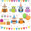 图库矢量图片: Birthday party owls set