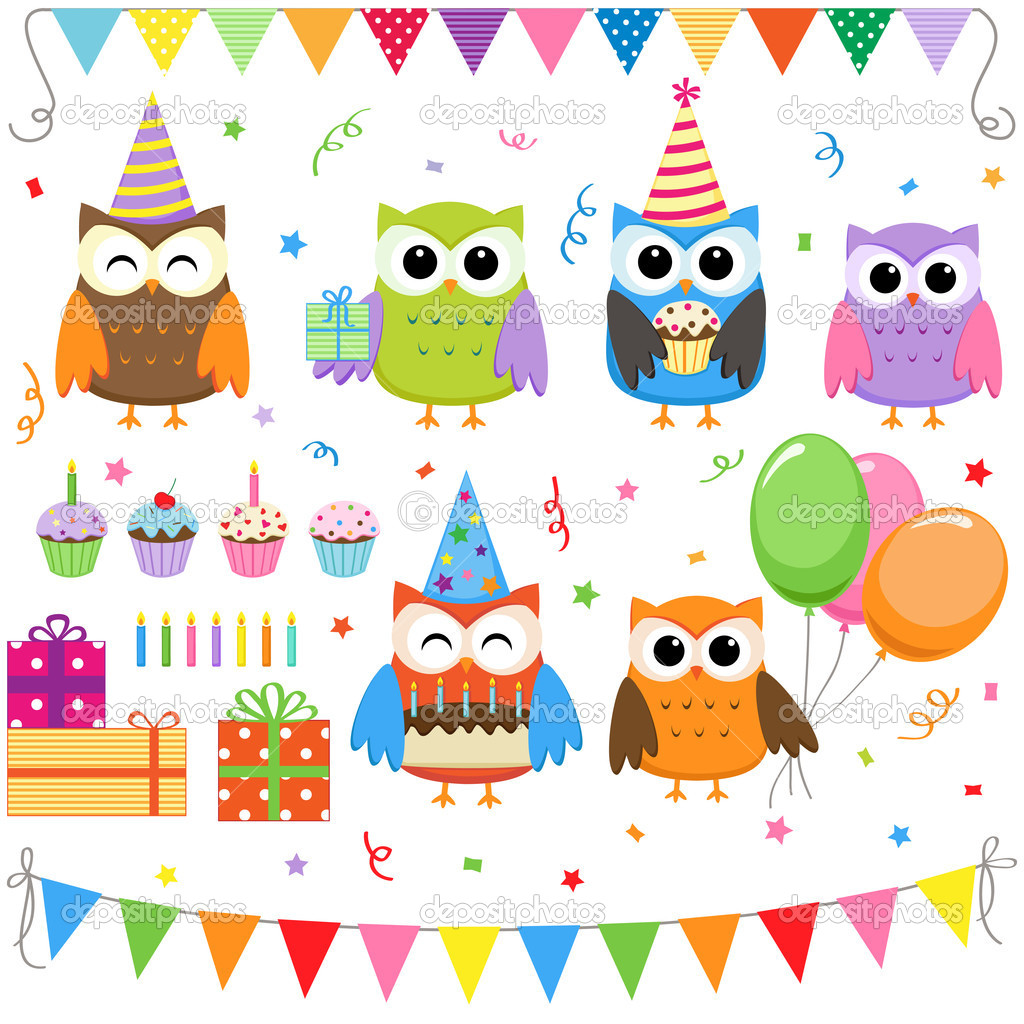 Set of vector birthday party elements with cute owls — Stock Vector #6274135
