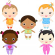 Baby girls — Stock Vector #6372936