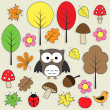 Autumnal stickers — Stock Vector