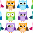 Cartoon owls — Vettoriali Stock