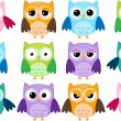 Cartoon owls - Stok Vektör