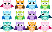 Cartoon owls — Vettoriale Stock