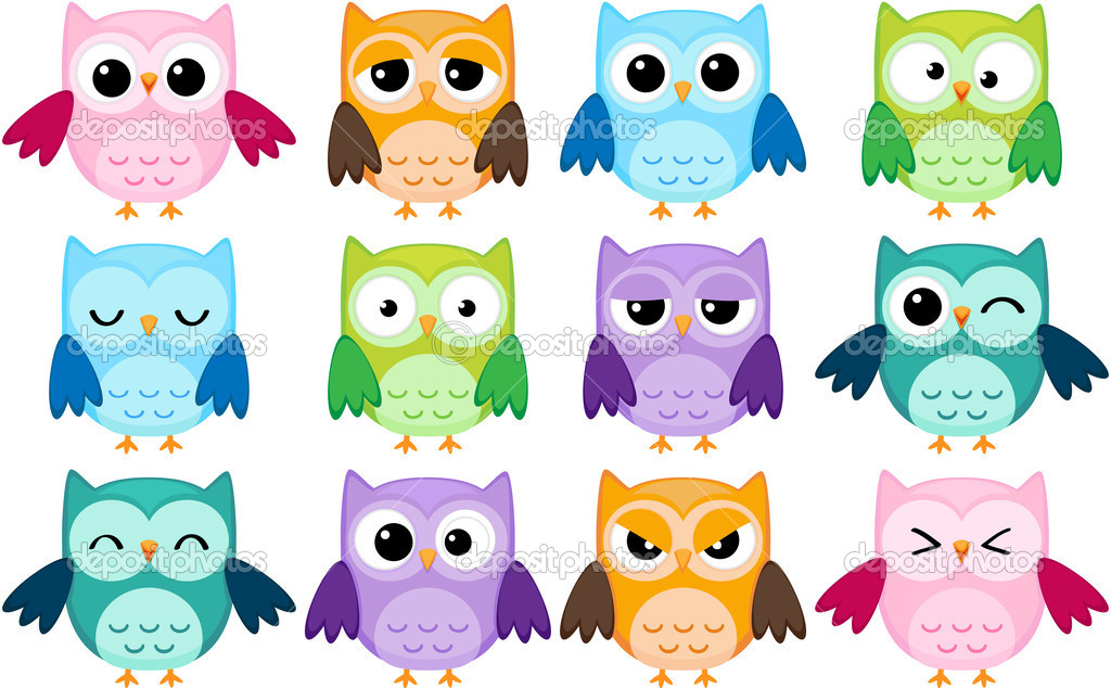 Set of 12 cartoon owls with various emotions — Stock Vector #6373277