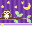 Stock Vector: Owl at night