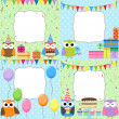 Birthday Party cards — Imagen vectorial