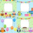 Birthday Party cards - Stok Vektör
