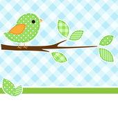 Pájaro en rama — Vector de stock