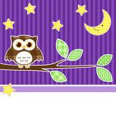 Sova v noci — Stock vektor