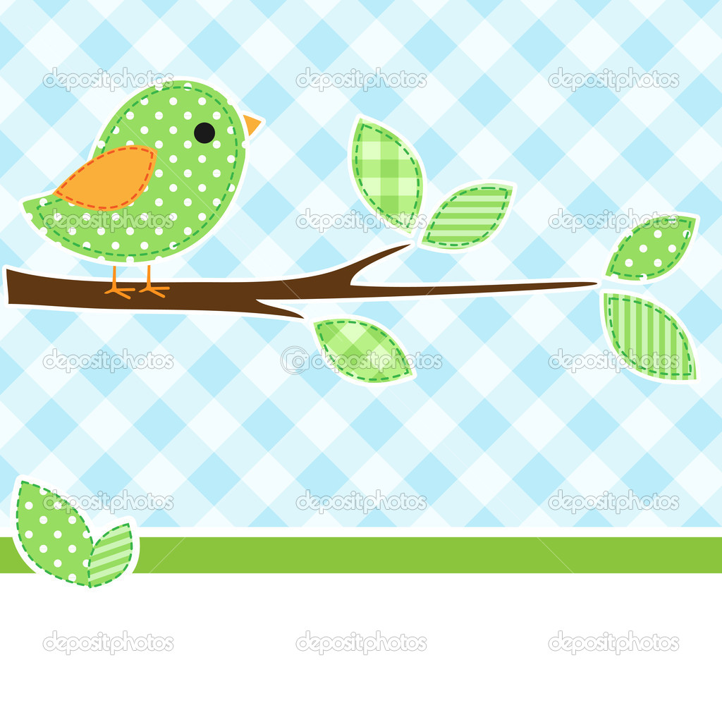 Card with bird on branch with textile background. — Stock Vector #6698938
