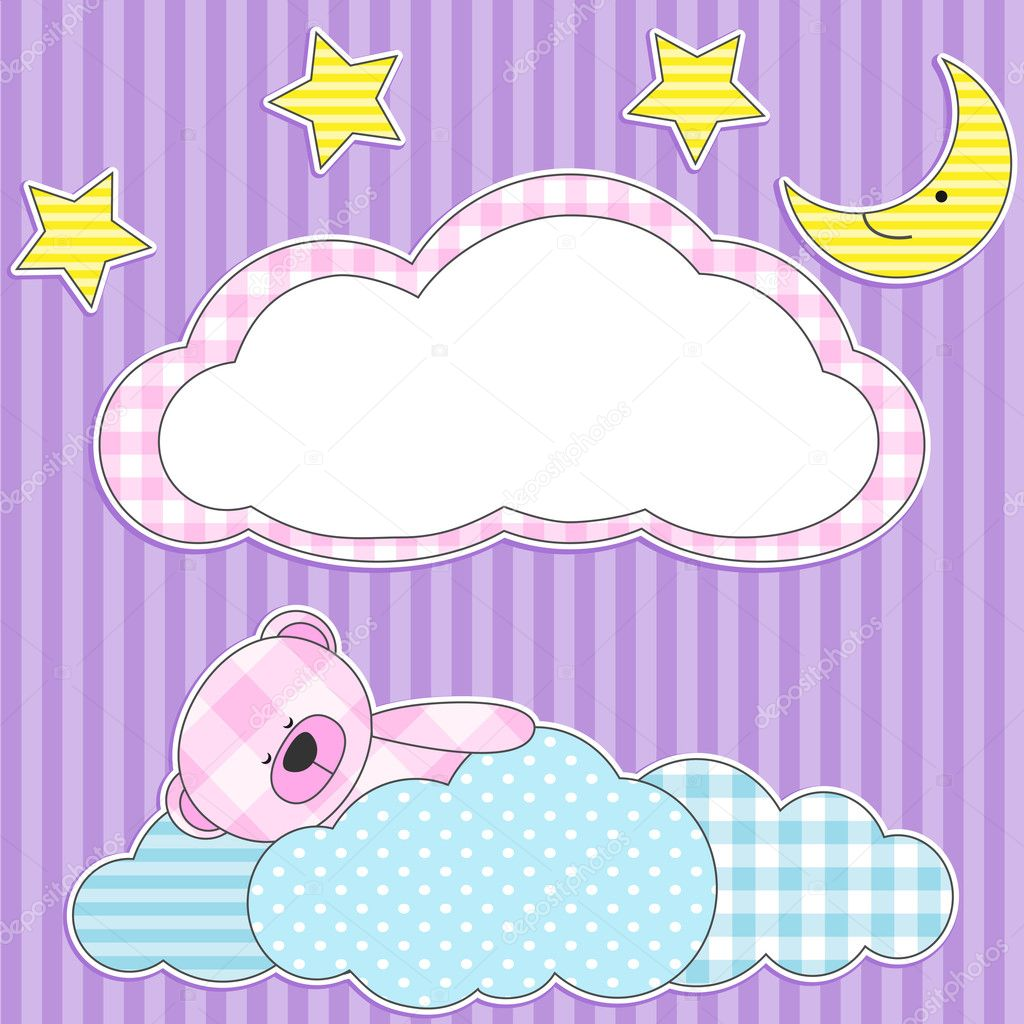 Cute card with sleeping pink teddy bear for girl. — Stock Vector #6698943