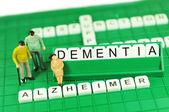 Alzheimer veya demans destekleyen anahtar kelimeler ve minyatür soyut kavram — Stok fotoğraf