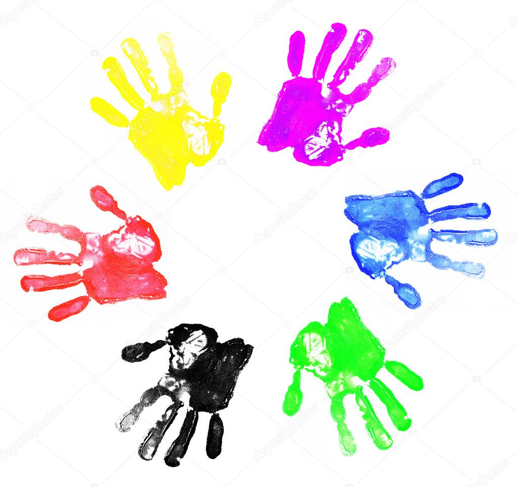 Diversity logo made by abstract colorful hand palm prints on white background — Stock Photo #6171462