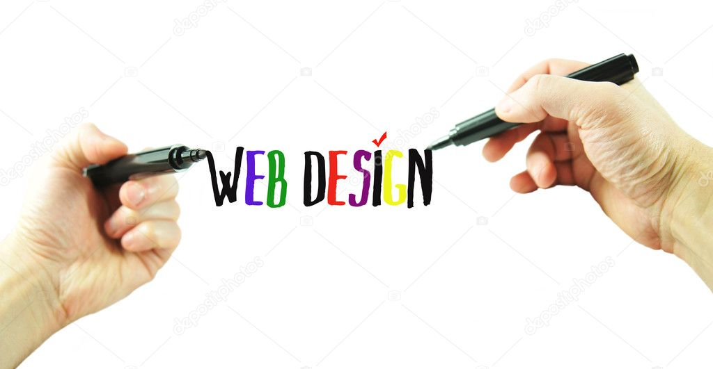 Web design concept with hands drawing logo — Stock Photo #6457191