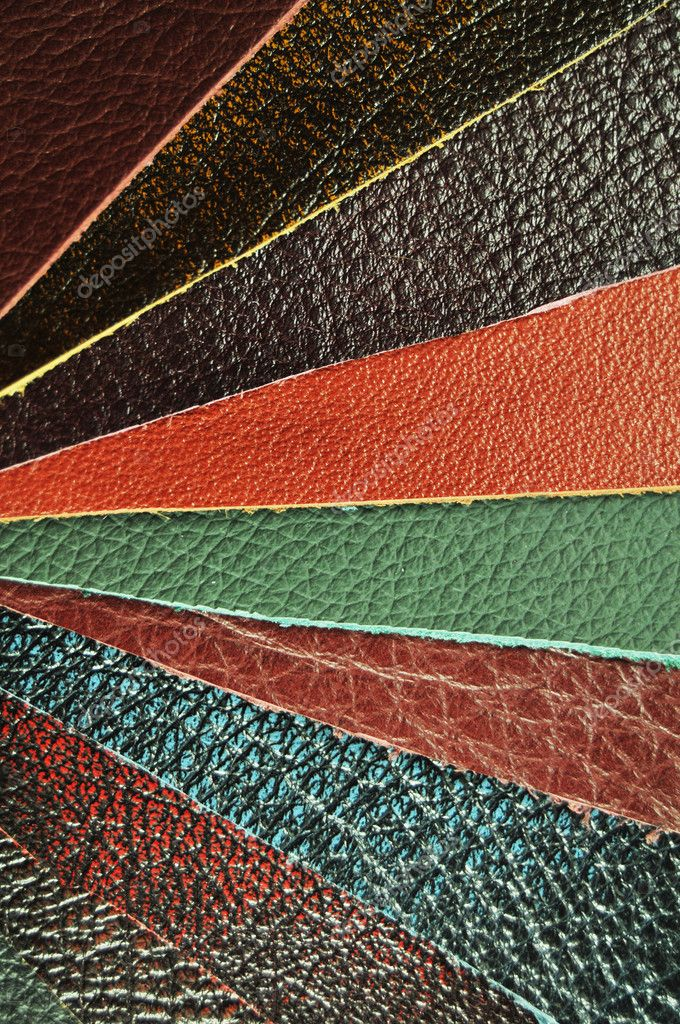 Various colours leather samples background — Stock Photo #6587434