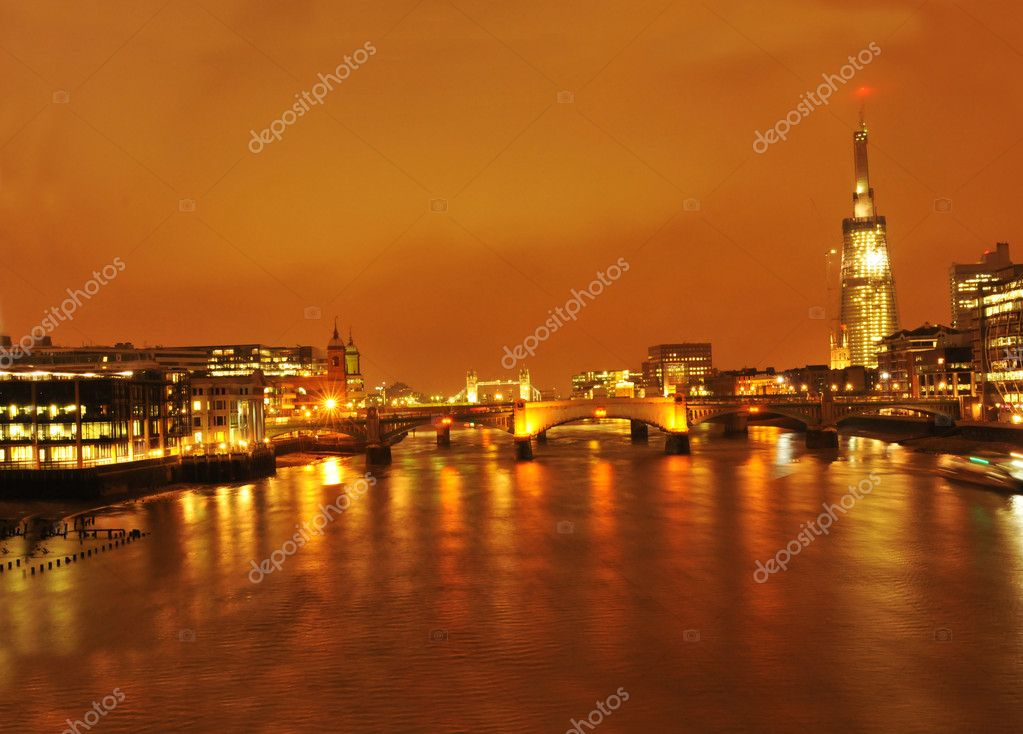 Night view of Shard London Bridge, previously known as the Shard of Glass, is a skyscraper under construction in Southwark, London.   Stock Photo #6700666