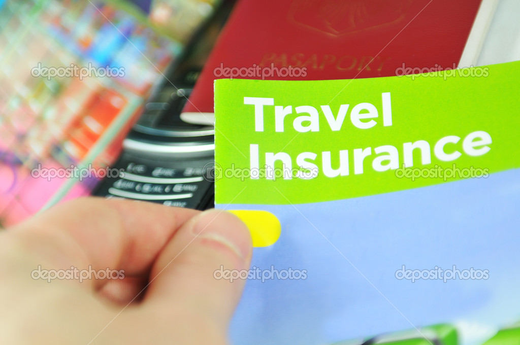 Travel insurance concept with hand holding information leaflet — Stock Photo #6701190
