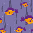 Stock Vector: Seamless pattern yellow fish