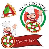 Pizza chef bonjorno — Stock Vector