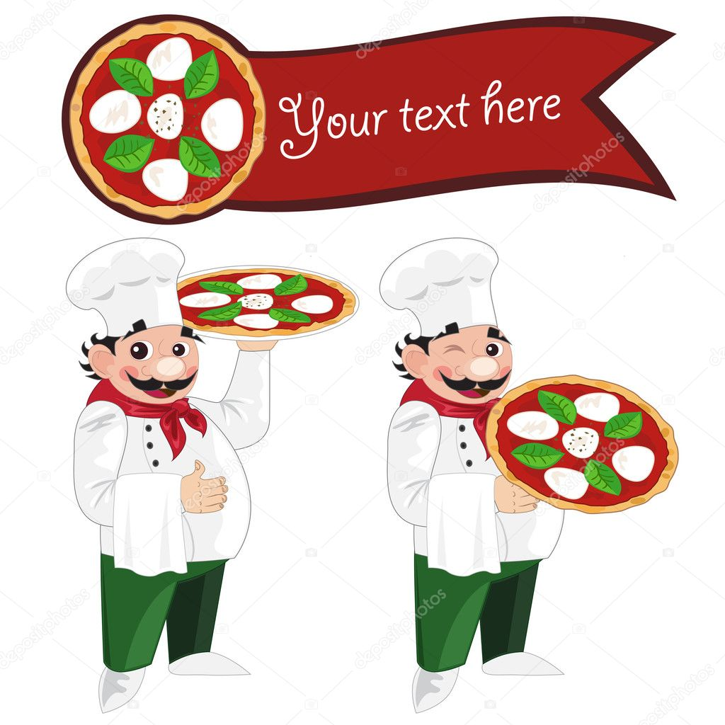 Pizza Chef Vector Pizza Chef And Pizza Banner