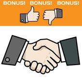 Handshake with bonus — Stock Vector