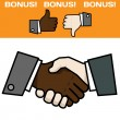 Handshake double color — Stock Vector