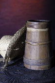 Small barrel with hat — Stock Photo