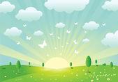 Vector Spring Landscape — Stock Vector
