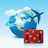 Vliegtuig reizen pictogram — Stockvector