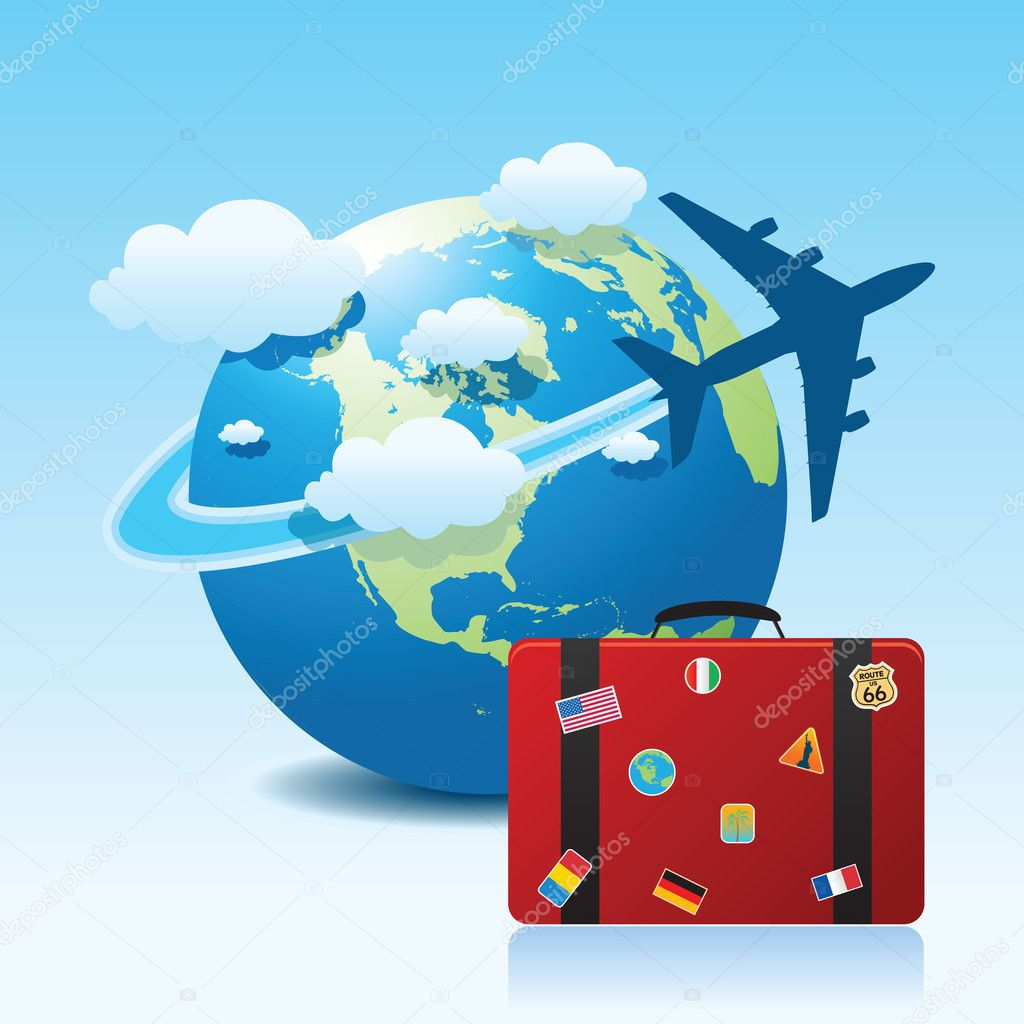 Vector illustration of airplane travel on globe. — Stock Vector #6697131