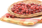 Cranberries in a wicker tray — Stock Photo