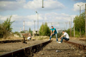Mens on tracks — Stock Photo