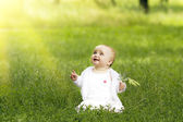 Cute little girl in the grass — Stock Photo