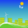 City using clean energy — Stock Vector