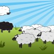 Jumping over black sheep — Stock Vector