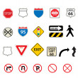 Traffic and road signs - Stock Vector