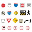 Traffic and road signs — Stock Vector
