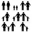 Single and two parent families - Stock Vector