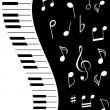 Notas de la música con piano — Vector de stock