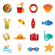 Beach and summer icons on white — Stock Vector