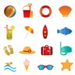 Beach and summer icons on white - Stock Vector